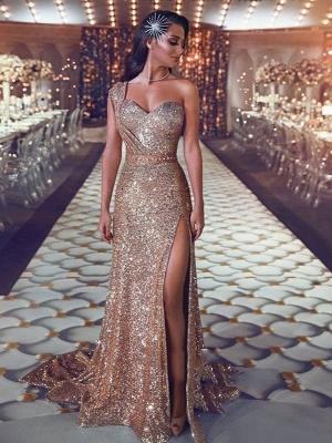 Magnifiques robes de bal de sirène de paillettes | Robe de soirée asymétrique avec fente_1