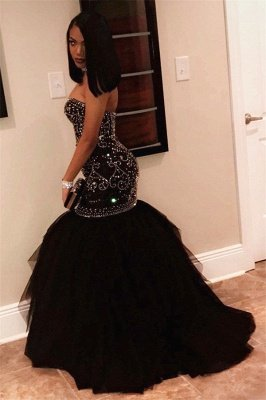 Sexy Sweetheart Beads Prom Dresses | Mermaid Black Sequins Cheap Evening Gown FB0275_3