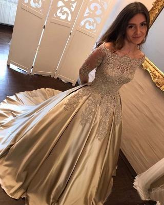 Une ligne robes de soirée cou de bateau manches longues en dentelle appliques robes de bal_3