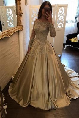 Une ligne robes de soirée cou de bateau manches longues en dentelle appliques robes de bal_2