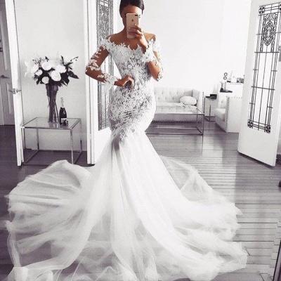 elegantes vestidos de novia sin hombros | Vestidos de novia de encaje de sirena de mangas largas_2
