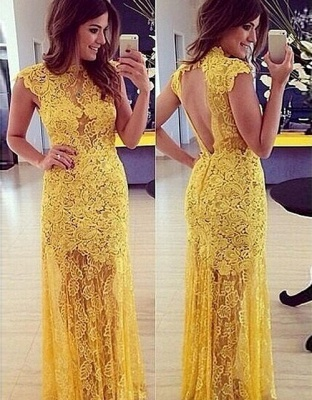 Modern Yellow Lace High-Neck Sleeveless A-line Long Prom Dress
