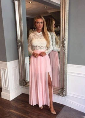 Elegant Lace Chiffon Split Long-Sleeve High-Neck A-line Zipper Prom Dress