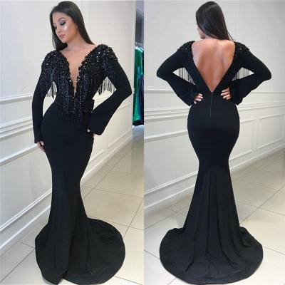 Deep Sexy V-neck Open Back Black Prom Dresses   Fit and Flare Elegant Long Sleeve Beads Tassels Evening Gown_5