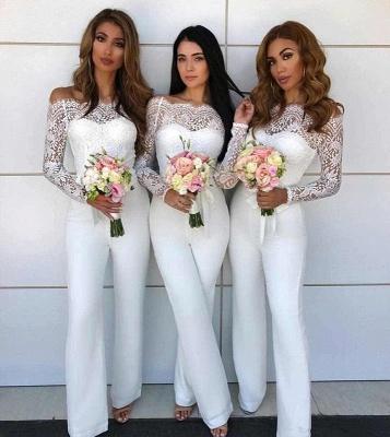 Schulterfrei Spitze Overall Brautjungfernkleider | Lange Ärmel Brautjungfer Kleid Günstig_4