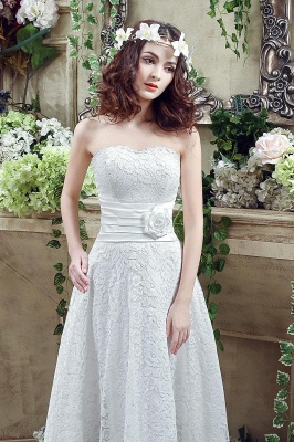 Elegant Sweetheart Lace Wedding Dress Ankle Length Empire Bridal Gown_4