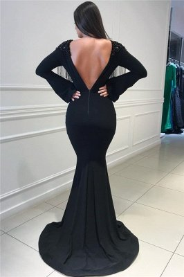 Deep Sexy V-neck Open Back Black Prom Dresses   Fit and Flare Elegant Long Sleeve Beads Tassels Evening Gown_3