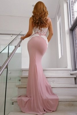 Spaghetti Straps Pink Evening Dresses | Open Back Mermaid Lace Formal Dresses_3