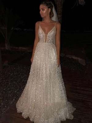 Sparkly White Spaghetti-Strap A-Line Sequins Wedding Dress | Shining Long Prom Gowns_1