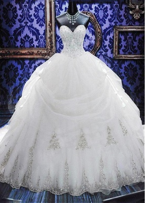 Gorgeous Ball Gown Beadings Wedding Dress 2018 Court Train Bowknot