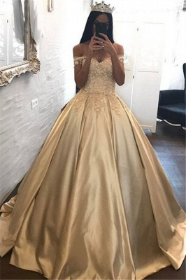 Off The Shoulder Champagne Gold Ball Gown Evening Dress Appliques Quinceanera Dresses FB0212_1