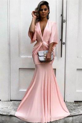 Chic Half Sleeves Deep V-neck Pink Evening Dresses | Sexy Mermaid Formal Dresses with Pleats bc1771_1