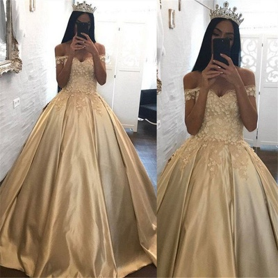 Off The Shoulder Champagne Gold Ball Gown Evening Dress Appliques Quinceanera Dresses FB0212_3