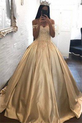 С плеча Шампанское Золотое бальное платье Вечернее платье Аппликации Платья Quinceanera FB0212_1