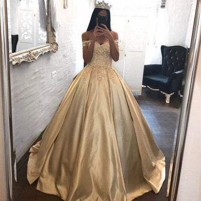 С плеча Шампанское Золотое бальное платье Вечернее платье Аппликации Платья Quinceanera FB0212_4
