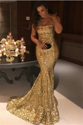 Sparkle Gold Sequins Mermaid Evening Gowns Sexy Strapless Prom Dresses FB0164_1