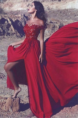 Cheap Off The Shoulder Red Formal Evening Gowns | Sexy Slit Popular Prom Dress BA7372_1
