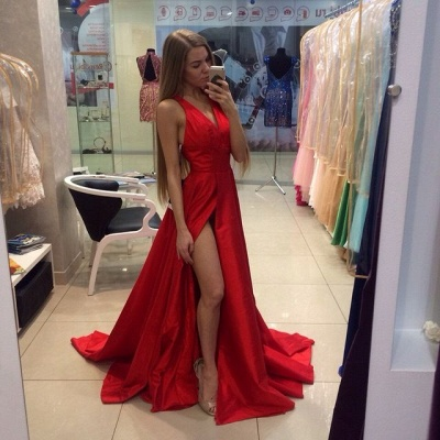 Sexy Side Slit Prom Dresses Cheap V-neck Stretch Satin Evening Gowns CE0015_3