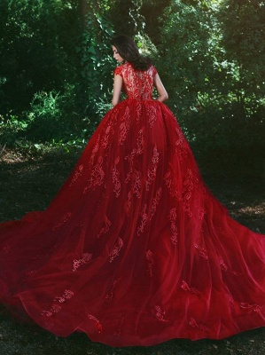Elegant Red V-Neck Cheap OverSkirt Lace Applique Prom Dresses