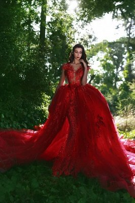 Elegant Red V-Neck OverSkirt Lace Applique Prom Dresses_6