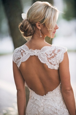 Elegant Full Lace Wedding Dress Open Back Sleeveless Summer Wedding Gowns_3