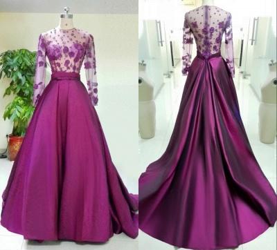 Superbes manches longues robe de soirée appliques baguettes_5