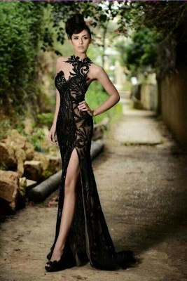 Sexy Black Prom Dress| Mermaid Evening Dress With Slit_2