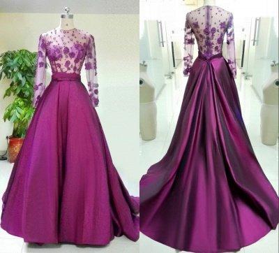Великолепное вечернее платье с длинными рукавами Аппликации Бисероплетение_5