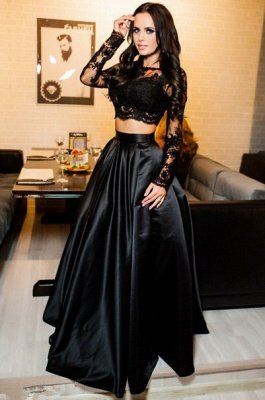 Modern Long-Sleeve Black Lace Two-Piece A-line Prom Dress_1