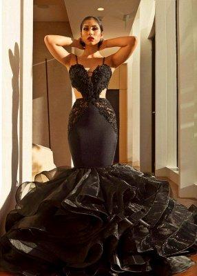 Sexy Black Abendkleid   Spitze Meerjungfrau Rüschen Abendkleid_1