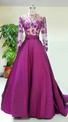 Великолепное вечернее платье с длинными рукавами Аппликации Бисероплетение_1