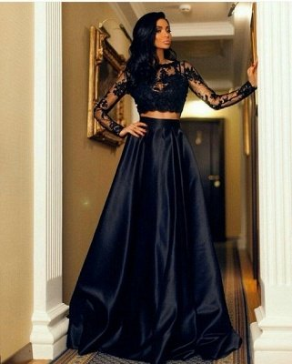 Modern Long-Sleeve Black Lace Two-Piece A-line Prom Dress_2