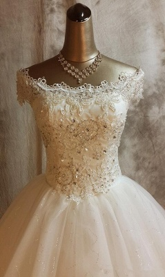 Glamorous Lace Ball Gown Wedding Dress for Princess Appliques Bride Dresses_4