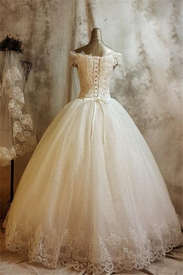 Glamorous Lace Ball Gown Wedding Dress for Princess Appliques Bride Dresses_3