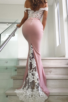 Off The Shoulder Mermaid Sexy Pink Prom Dresses | Lace Long Evening Dresses Online BC0359_3
