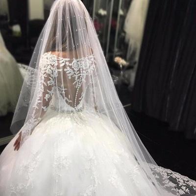 ترف تول يزين سكوب طويل الأكمام فستان الزفاف الكريستال_3