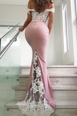 Schöne Rosa Spitze Abendkleider Meerjungfrau | Sexy Spitze Lange Abendkleider Schulterfrei BC0359_3