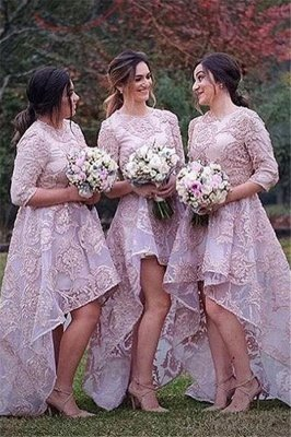 Half Sleeves Lace High Front Low Back Bridesmaid Dresses Cheap Wedding Party Dress_1