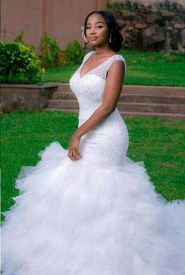 Sexy Mermaid V-neck Wedding Dresses Sleeveless Beading Court Train Bridal Gown_1