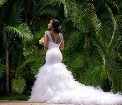 Sexy Mermaid V-neck Wedding Dresses Sleeveless Beading Court Train Bridal Gown_5