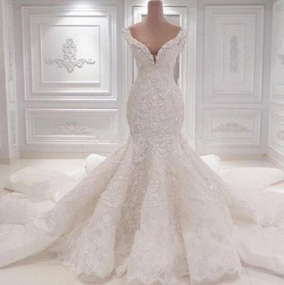 Robe de mariée sirène luxueuse à épaules dénudées | 2021 Dentelle AppliquesRobes de mariée BC0221_2