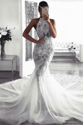 Vestidos de novia elegantes sin mangas del halter | Sexy sirena tul vestidos de novia_1