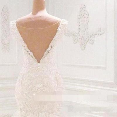 Robe de mariée sirène luxueuse à épaules dénudées | 2021 Dentelle AppliquesRobes de mariée BC0221_3