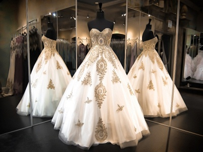 Elegant Sweetheart Gold Lace Wedding Dresses Sparkly Ball Gown Bridal Dress BA2175_3