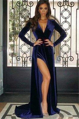 Deep V-Neck Velvet Evening Dresses with Sexy Side Slit | Vintage Navy Long Sleeves Prom Dresses_1