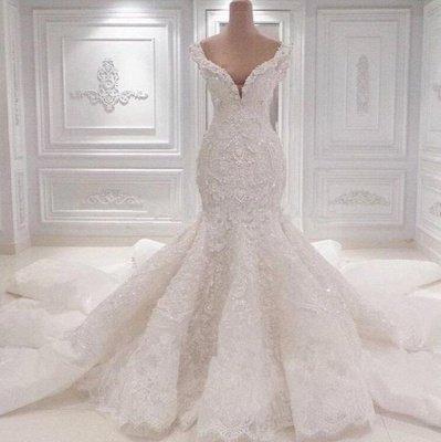 Роскошное свадебное платье Русалка с открытыми плечами   2021 Кружева АппликацииСвадебные платья BC0221_2