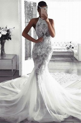 Elegant Sleeveless Halter Wedding Dresses | Sexy Mermaid Tulle Bridal Dresses_1