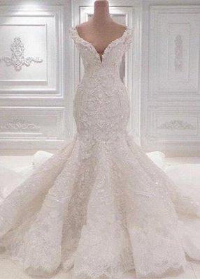 Robe de mariée sirène luxueuse à épaules dénudées | 2021 Dentelle AppliquesRobes de mariée BC0221_1