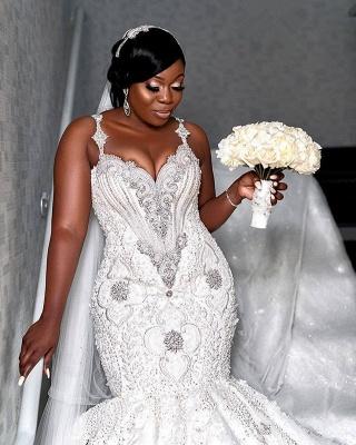 Robe de mariée chérie de luxe à bretelles spaghetti   Appliques de perles sirène robes de mariée BC4181_2