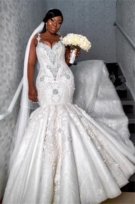 Robe de mariée chérie de luxe à bretelles spaghetti   Appliques de perles sirène robes de mariée BC4181_1